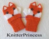 Fox gloves, adult size, fox mittens, own design fox fingerless gloves,crochet animal gloves, gift for her, gift for him, gift for bff