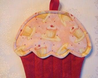 Cupcake Print- Cupcake Shape Potholder