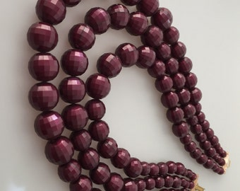 1960s Vintage TRIPLE STRAND Beaded Necklace Plum Plastic Beads STATEMENT Necklace Faceted Beaded Necklace