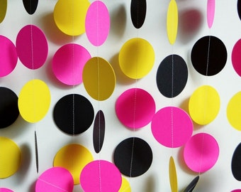 Hot Pink / Yellow / Black Party Decoration, Hot Pink Paper Garland, Bridal Shower Decor, Pink, Yellow, Black Birthday Decor, 10 ft. long