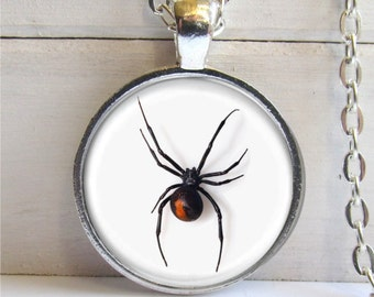 Black Widow Spider Pendant, Black Widow Spider Necklace, Spider Jewelry, Halloween Necklace