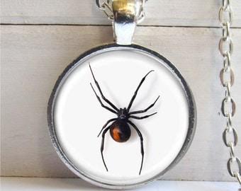 Black Widow Spider Pendant, Black Widow Spider Necklace, Spider Jewelry, Halloween Necklace