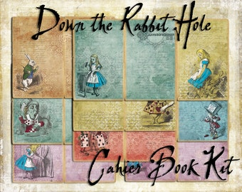 Digital Paper Pack Down the Rabbit Hole Book Kit PAGES ONLY cahiers