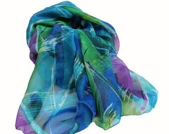Shimmering Iridescent Blue Green Purple Jewel Tone Scarf Wrap