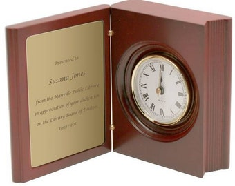 Customized Rosewood Book-Style Clock and Decorative Brass Plate