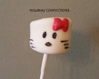 Kitty inspired chocolate covered marshmallows on a stick  -  Favors - Marshmallow Pops - Kids party