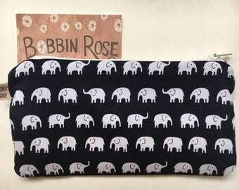 Zip purse, mini elephants zip pouch, pencil case in cute elephant fabric