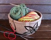 Sunflower Yarn Bowl, Pottery Yarn Bowl