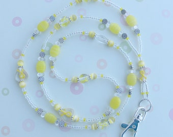 O O A K - Handmade Lampwork Glass Beaded Lanyard ID Badge Holder – Tie a YELLOW RIBBON - AW157