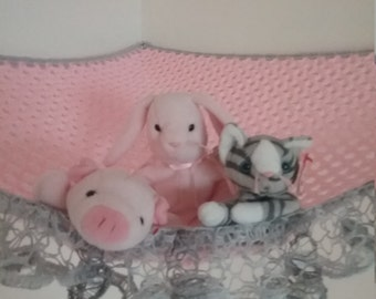 Crochet toy net hammock, stuffed animal storage in pink and light gray with silver and gray ruffle trim MADE TO ORDER