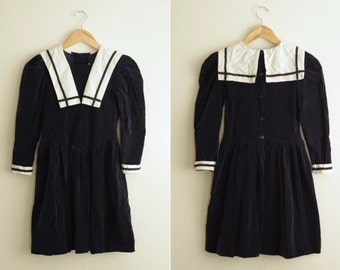 Kim Originals 100% Cotton Blue Velvet Sailor Dress Size 10 | Made in USA
