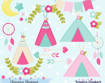 glamping clipart for camping party or sleepover, crafts, and products