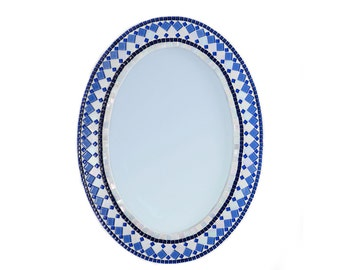 Wall Mirror / Oval Blue and White Mosaic Mirror / Blue Home Decor / Wall Art / Large Mirror