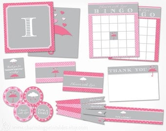 Girl Baby Shower Decorations - Printable Instant Download - Pink and Grey Gray Rain April Showers Valentines Baby Shower