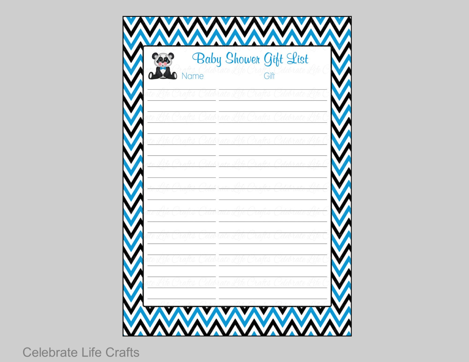 Panda Baby Shower Gift List   Printable Baby Shower Gift Record Sheet For Thank  You Notes