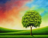 Art Print of Green Willow Tree Painting, Whimsical Giclee Print Contemporary Art, Wall Decor, Fine Art Print Oil Painting, 4x5, 8x10, 11x14