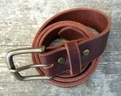 Brown leather belt, Solid brass buckle, Made in the USA, Brown belt, 1.25 inches wide, Mens belt, Womens belt, The Willamette