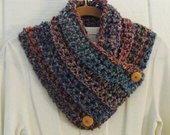 Crochet Button Cowl Scarf Terracotta Turquoise Blue Desert Colors Wood Buttons Neckwarmer Scarflette
