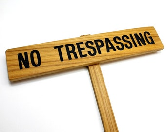 NO TRESPASSING Sign, Cedar Wood Stake Sign, Routed Black Private Sign, Private Drive Sign, No Trespassing Marker, Trespassing Signage