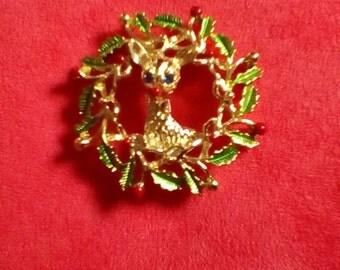 Reindeer Wreath Brooch