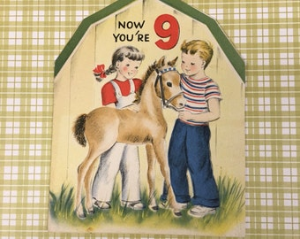 Vintage 1950s Cute Birthday Farm Boy and Girl with Horse Card - Adorable Graphics!