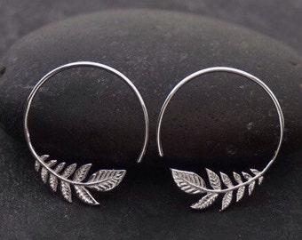 Leaf Earrings - Small Silver Hoop Earrings - Olive Leaf Earrings - small leaf hoop earrings