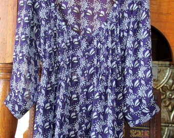 Boho Tunic Upcycled Sheer Top Dress SZ L