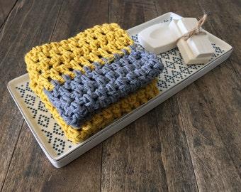 Mustard Yellow and Gray Cotton Dishcloth Set. Crocheted Dish Clothes, Cotton Dish cloth, Wash cloth. Modern Kitchen housewarming gift