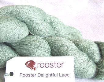 Lace yarn, green yarn, lace wool, Rooster yarn, alpaca wool and silk 100g skein of wool in Pisco colourway, knitting lace, green wool,  UK