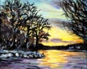 "Fine Art 5 X 7 Print of my Original Painting ""Winter Lake Sunset"""