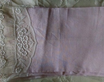 Hand Towels, Set of Two,  Pink With Lace Fingertip Towels/ Guest Towels/ Fancy Tea Towels