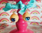 Blinky Dolly Earrings in Aqua Blue, eyeball earrings, eyeball charm, pinup jewelry, harajuku streetwear inspired jewelry, vintage doll eyes