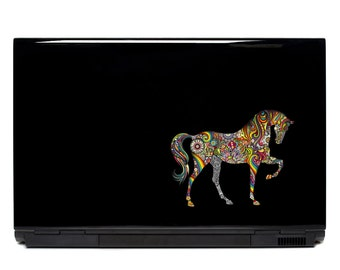 Ornate Horse Vinyl Laptop or Automotive Art FREE SHIPPING decal laptop notebook art sticker ornate detailed colorful psychedelic