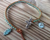 Hummingbird Owl Bird Turquoise Blue Bohemian Leather Anklet Boho Chic Bohemian Jewelry Leather Anklet Leather Jewelry