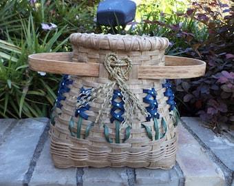 Texas Bluebonnet Small Hoop Basket Texas Basket Texas Bluebonnets Handwoven Basket