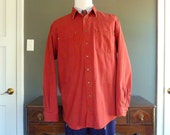 Vintage LL Bean Flannel-Lined Red Denim Chore Coat / Work Jacket / Work Shirt XL TALL.  Made in Canada.