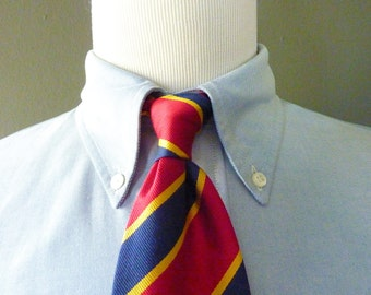 CLASSIC Vintage Lands' End 100% Silk Repp Striped Trad / Ivy League Neck Tie.  Made in USA.