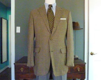 RARE Vintage Corbin for ELJO'S 100% Wool Glen Plaid Prince of Wales Trad / Ivy League Tweed Sack Jacket Sport Coat Size 44 R.  Made in USA.
