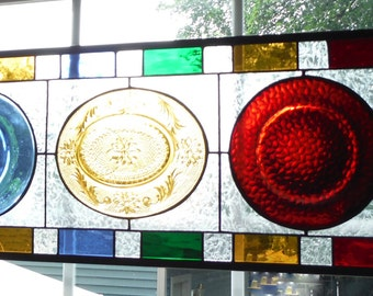 Primary Colors Depression Glass Set into Stained Glass Panel Valance Sidelight