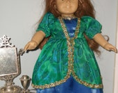 18 Inch American Girl Doll Princess princess dress and tiarra, in beautiful green brocade and blue satin by Project Funway on Etsy