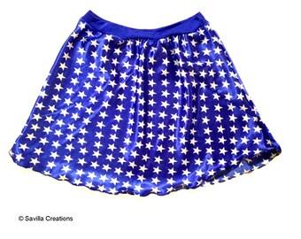 Wonder Woman skirt. Made in USA of lightweight satin