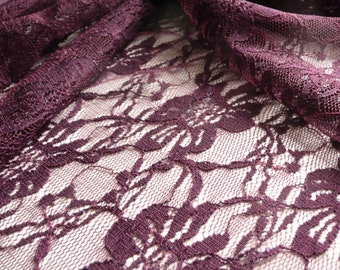 Plum Soft Stretch Floral Lace Dress Fabric - 150cm wide - sold by the metre - UK SELLER
