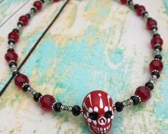 Rockabilly Sugar Skull Necklace - Red and Black Skull Necklace - Dia de los Muertos Necklace - Sugar Skull Necklace