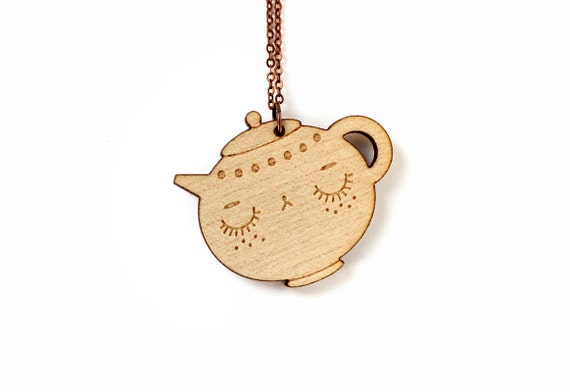 Teapot necklace - cute tea character pendant - food jewelry - graphic jewellery - kawaii - lasercut maple wood
