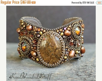 ON SALE 25% OFF Bead embroidered cuff with bronzite cab