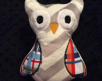 Gray Chevron Minky Owl, CLEARANCE SALE
