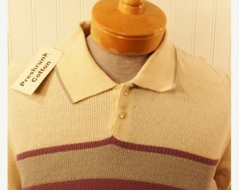 50% Off Valentines Sale NOS Vintage 70s Brian MacNeil Men's Purple Grey Ivory Cotton Knit Hipster Shirt SZ M