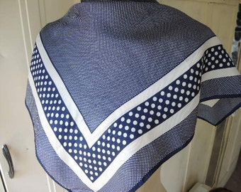 Vintage 1970s scarf silk blue and white polka dot 23 x 23 inches