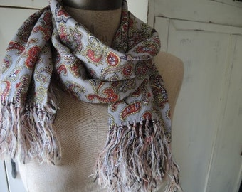 Vintage rayon fringed scarf gray paisley  12 x 45 inches