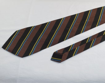 Vintage Men's Tie, Black, Brown, Blue and Yellow Stripes
